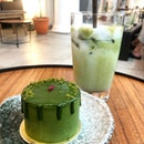 Genmaicha iced latte ($5.80) and matcha petit gateau ($8.80)  Loved the chill and zen vibes at Hvala.