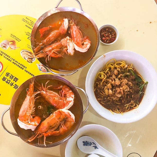 @ Wah Kee Big Prawn Noodles 华记大虾面 Visited their restaurant at esplanade and decided to make a trip to their other branch at Pek Kio hawker w the fam!