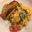 Roasted Salmon With Ebiko Scrambled Eggs And Edamame Mash