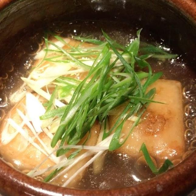 Agedashi 'special sesami-tofu'.