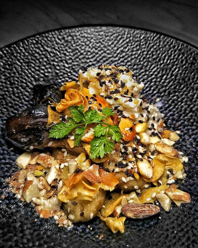 ~ Terra ~ The Home Made Ricotta ($12) with Roasted Eggplants, Garlic Chips, Toasted Sesame & Almonds MAY NOT BE INSTAGRAMMABLE BUT IT'S HIAKING BIG ON TASTE YOU NEED TO HEAD ON OVER TO @DonHoSg & TRY IT & I'M NOT BEEN HYPERBOLIC YAH!