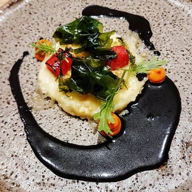 Toothfish brandade with sea grapes, seaweed, red pepper coulis and squid ink sauce...