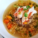 Poached rice with lobster, quinoa and intensely flavored lobster broth!