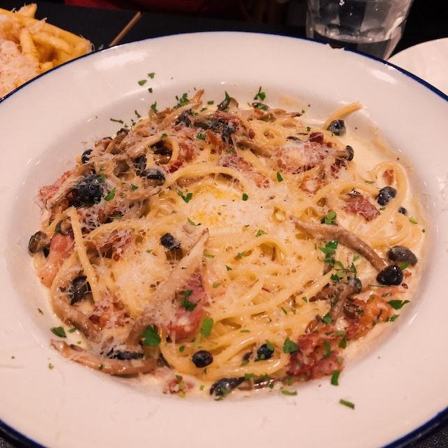 Mushroom Bacon Carbonara