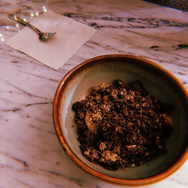 Smoked Hay Semifreddo, Chocolate Textures