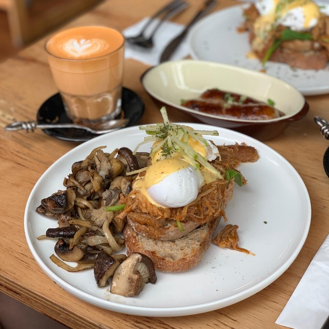 Pulled Pork Benedict With Added Mushrooms ($19)