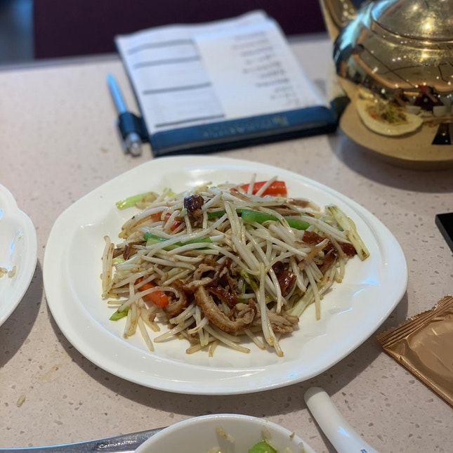 Stir-fried bean sprouts with shredded duck ($13.80++)
