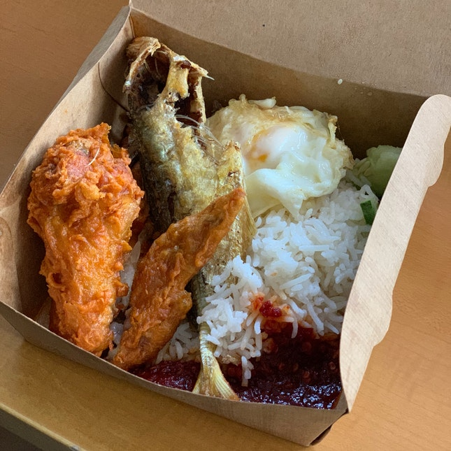 Nasi Lemak With Chicken Wing ($5.90) + Selar Fish ($1.90)