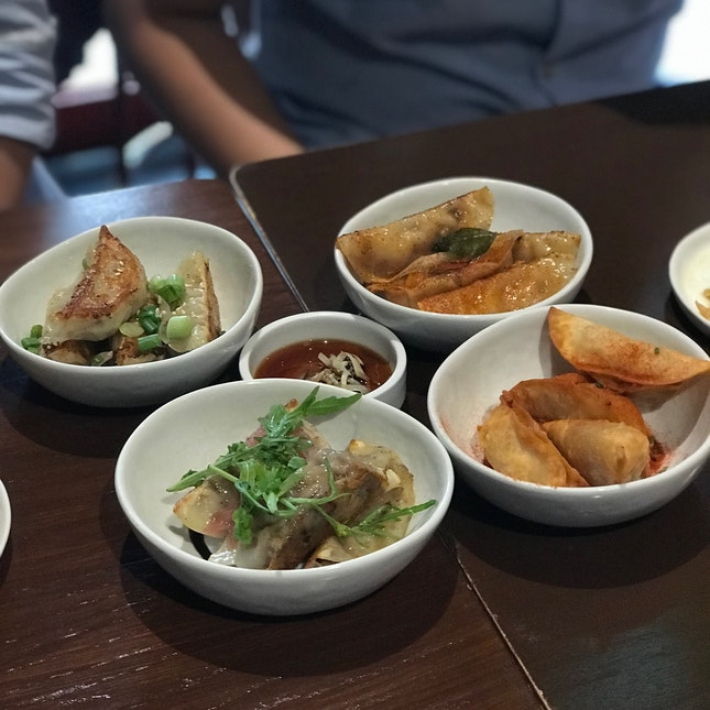 (From left) The Original, Smoked Duck, Momo Curry, Fried Pierogi
