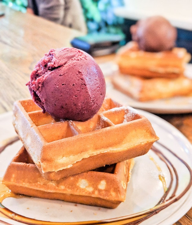 Acai Banana Berry Ice Cream with Waffle