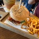Chicken Bacon Burger With Refuel iced Tea
