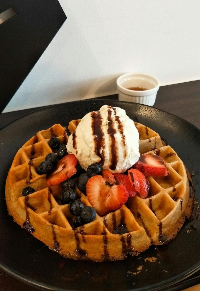 Waffles with Single Scoop Ice Cream ($10)