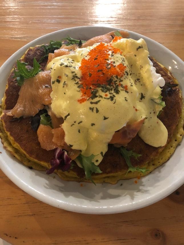 Pumpkin Pancake with smoked salmon ($19)