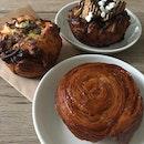 Bacon Roll, Triple Chocolate Danish, Kouign Amann ($5-6 avg)