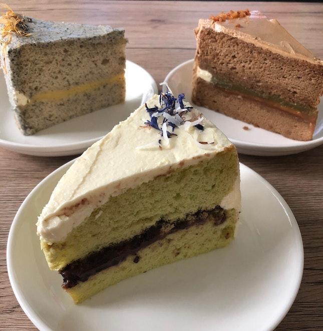 Kopi Kaya Peanut Butter, Sesame Yuzu, Pulut Hitam chiffon cakes $7.50ea