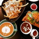 1st Cafe H0p 0n é 1st Day 0f 2O18 🎉😋🤘 Cafe Latte x Truffle Fries x Buttermilk Waffle Curry Chicken Katsu with Melted Cheese é fries & waffle s0 g00d + cute #latteart .