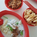 it's been awhile~ sliced fish koka noodles with fried beancurd skin & egg floss .