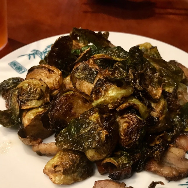 Brussel Sprouts With Salted Belly And Mushrooms