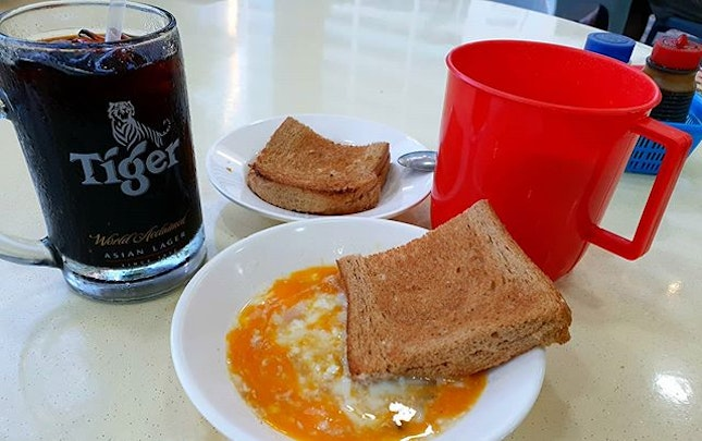 New norm (noms) with WFH - Regular Kaya Toast Breakfast with Dad before starting the day .