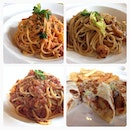 1-for-1 #lunch tomato crab meat pasta, prawn aglio olio, bolognese and fish wrap w fries