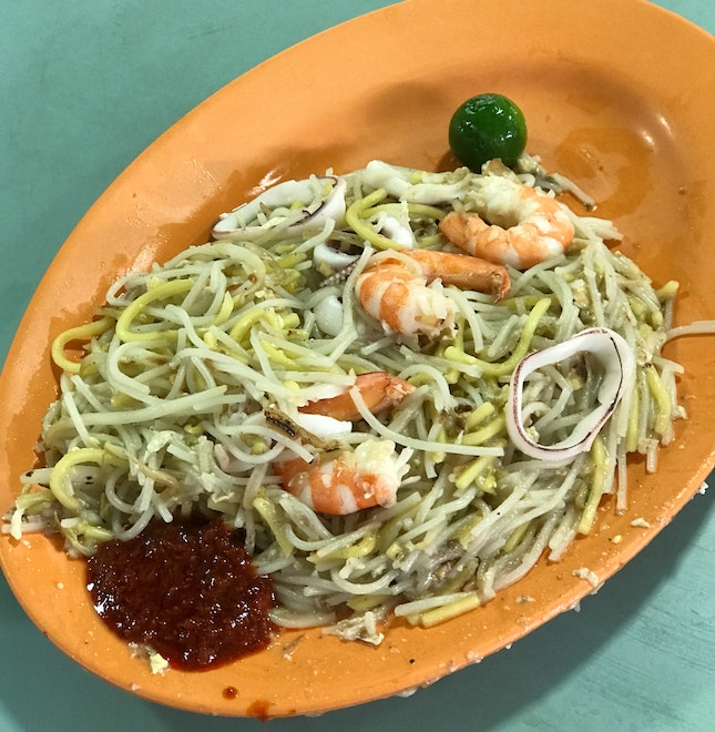 Fried Hokkien Mee ($4) From Stall At Corner Nearest To Traffic Light