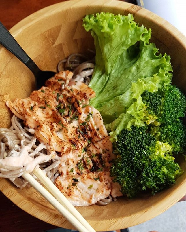 Yesterday's #yummy #sobanoodles with #mentaiko #salmon - my luxurious treat (tog w Woobbee bbt) after dance cardio class!