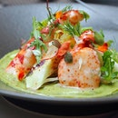 [Verre Modern Bistro & Wine Bar] - The Half Lobster Salad ($38) is served on a smooth guacamole base.