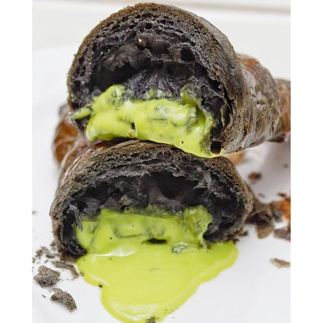 [Antoinette, Penhas] - Newly launched today is the  Charcoal Kaya Croissant($6), a charcoal-infused croissant housing a delightful lava of Antoinette's housemade kaya.