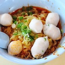 [Song Kee Kway Teow Noodle Soup] - Mee Pok Dry from the popular fishball noodle stall.