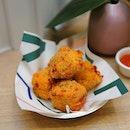 [Two Hana] - Kimchi Mac & Cheese Bites ($9).