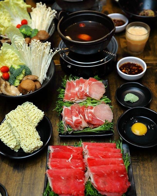 [Masizzim] - Newly launches Shabu-Shabu Hotpot with three choices of meat (pork, beef, wagyu beef).