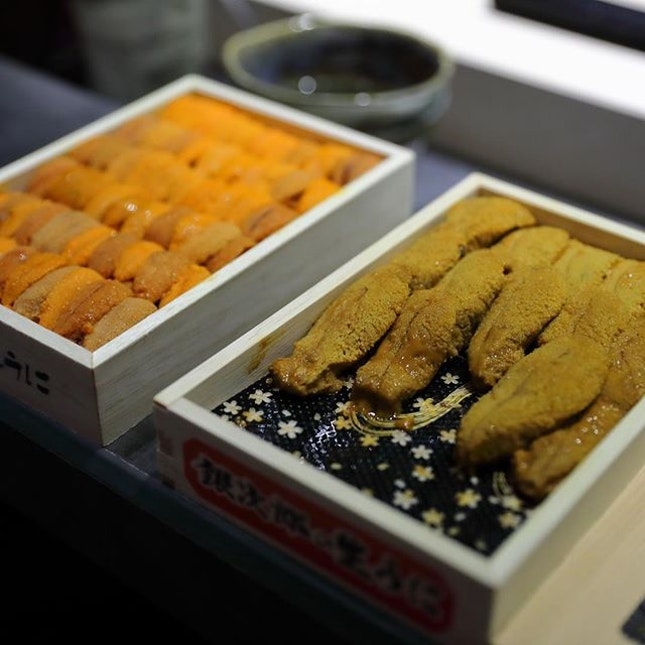 [Kappo Shunsui] - I have eaten Bafun Uni many times for its creaminess and sweetness but this is my first time having the Murasaki Uni.
