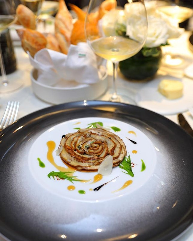 [Bacchanalia] - Beautifully plated like a rose are slices of French porcini mushroom and eggplant that forms the Ceps Tartelette.