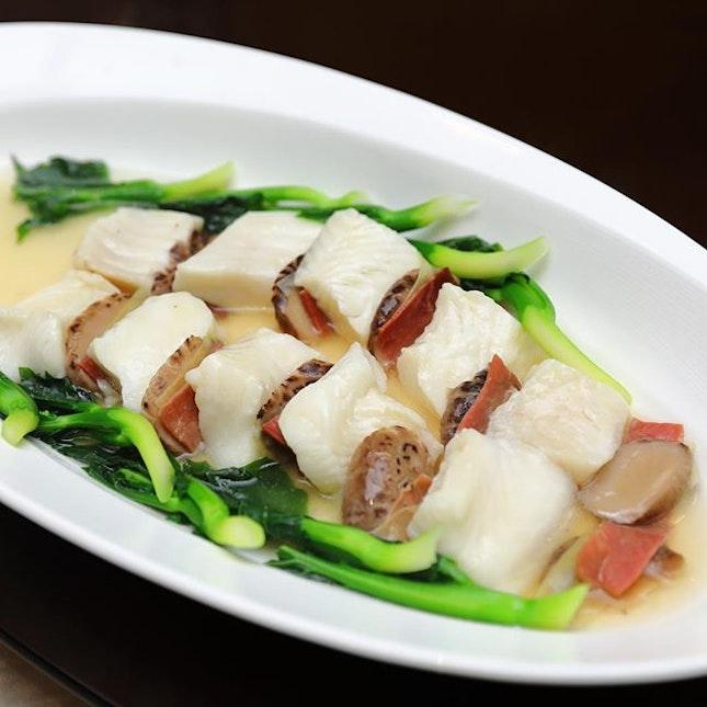 [Jiang Nan Chun] - Steamed Cod Fillet with Sliced Yunnan Ham and Mushrooms.