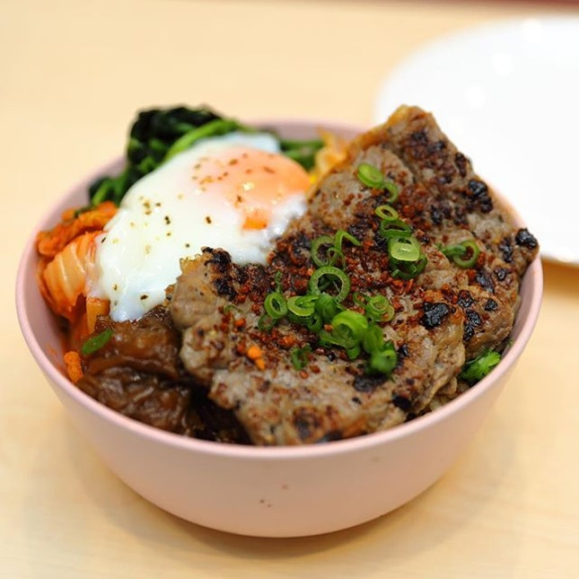 [Two Hana] - Striploin Bap ($13), its Korean interpretation of the rice bowl.