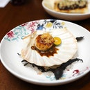 [15 Stamford] - The plump and juicy Grilled Hokkaido Scallop ($12) is paired with soy garlic vinegar butter sauce and topped with deep fried shredded ginger.