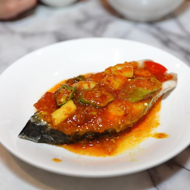 [Ho Fook Hei] - Seabass Fillet Steamed with Signature Nonya Assam Sauce ($14.80).
