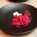 [LeVeL33] - Sheep Milk Yoghurt with Dragonfruit and Beetroot Granita.