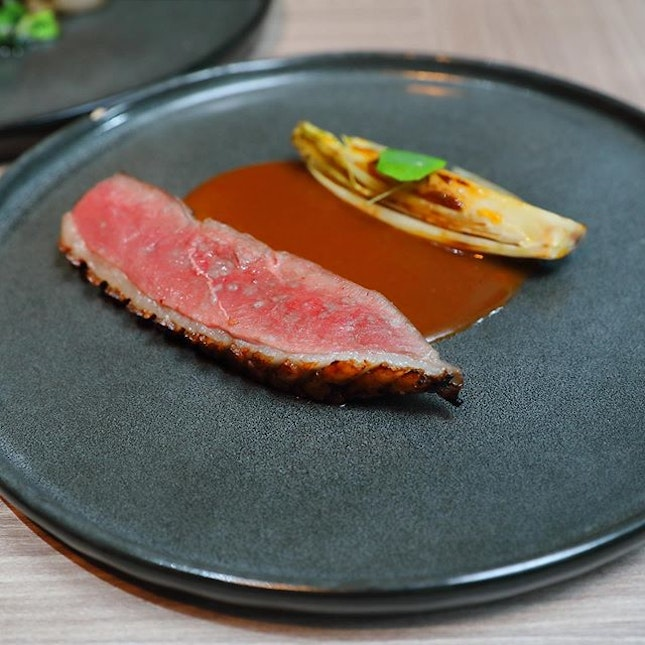 [LeVeL33] - The night brightened up with the Aged Duck Breast glazed with LeVeL33's IPA and orange juice, served with grilled endives and duck jus.