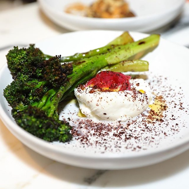 [Jam at Siri House] - A simple and clean vegetable dish is the Broccolini ($25) that is adorned with fresh burrata, sumac and pickled onions.