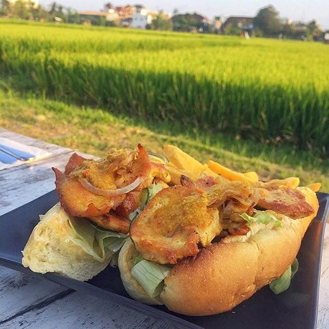 #chicken breast #sandwich overlooking the #paddy #field.