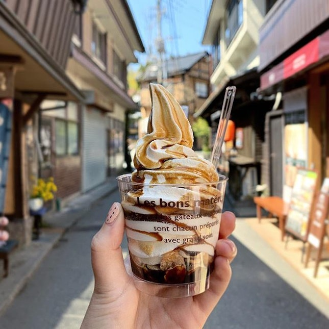 Classic milky soft serve (380¥) made from jersey milk, drizzled with coffee sauce (also available for sale).