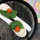 1) A Dance Of Complexity - Ramen Egg With Oba, Tobiko, Buah Keluah Shiitake($98/168++)