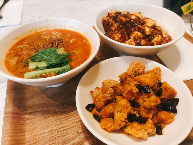 Super Value Meal Of 1/2 Dan Dan Mian, 1/2 Mapo Tofu And Sichuan Fried Chicken ($16.60)