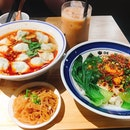 Spicy Sour Dumplings Set ($8) & Scallion Chilli Oil Noodles