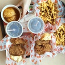 We are having a feast at Popeyes' chickens and their latest addition Cajun Cheese Fries.