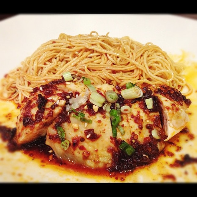Spicy Sichuan Chicken with Noodles.