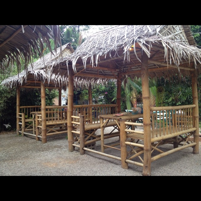 cute little rattan huts