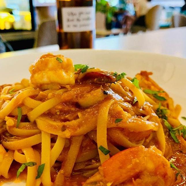 Seafood marinara pasta at Chiu's.