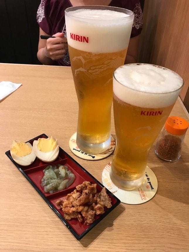 Beer With Tamago, Octopus And Chicken Skin Snacks
